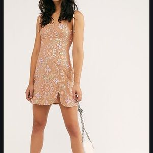 NWT Free People Sequin Peach Mini Dress